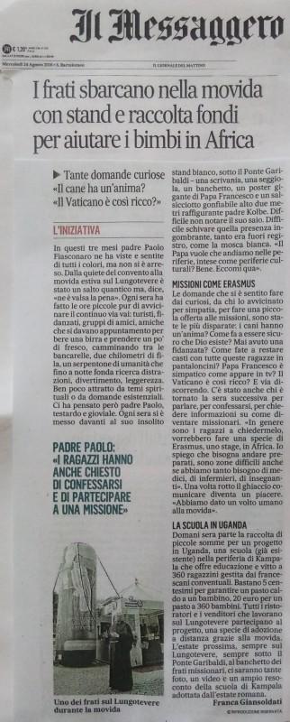 2016 08 12_Il Messaggero_Articolo