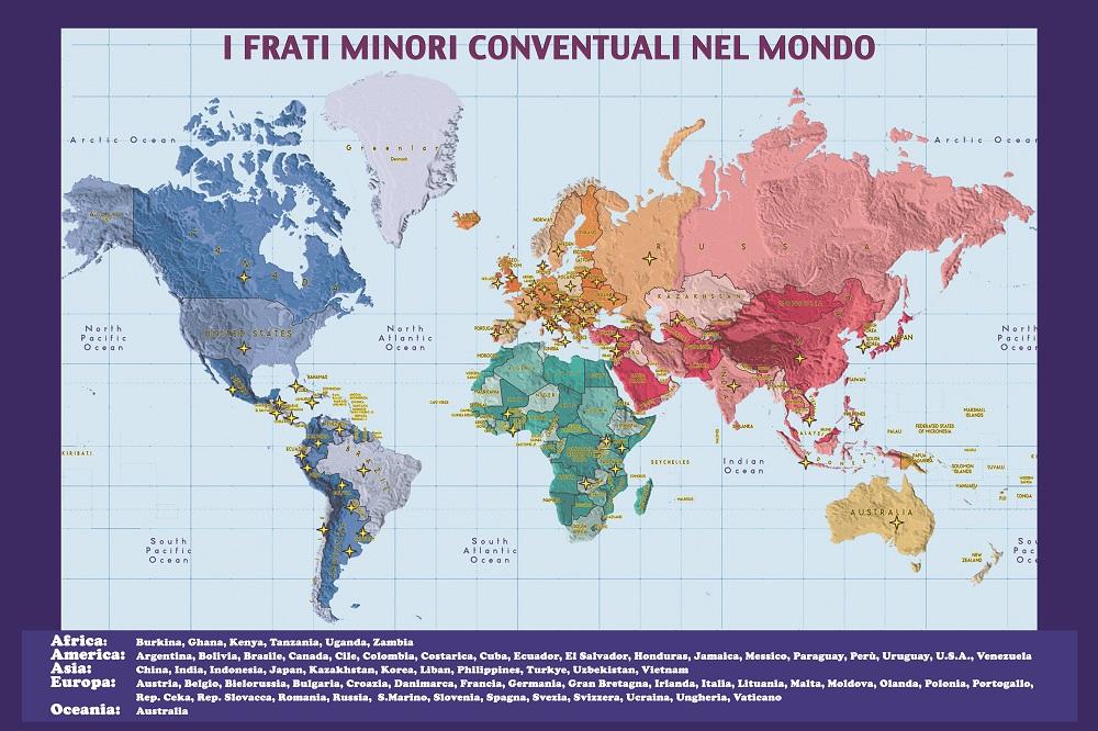 Le presenze dei Frati Minori Conventuali nel mondo